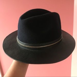 Zara hat - navy felt/black leather -  NWOT